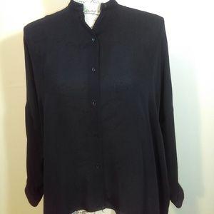 Vince black oversized button down blouse S…
